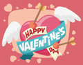 Flying Heart with Arrows and Valentine's Day Greeting Message, Royalty Free Stock Photo