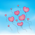 Flying Heart Balloons Royalty Free Stock Photos