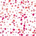 Flying heart confetti, valentines day vector background, romantic love vector simple texture.
