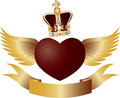 Flying Heart with Crown Jewels Illustration Stock Images