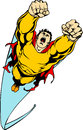 Flying hero with ragged cape comic book style illustration of a Royalty Free Stock Image