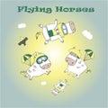 Flying horses Royalty Free Stock Photo