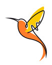 Flying hummingbird in yellow doodle sketch of a colorful and orange with outspread wings and a long curviong beak side view Stock Image