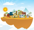 Flying island orient vector illustration of theme Stock Photography