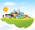 Flying island village vector illustration of green mountains in the background Royalty Free Stock Photography