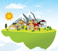 Flying island village vector illustration of green mountains in the background Stock Image