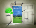 Flying keys opening door to nature Royalty Free Stock Images