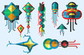 Flying kite vector illustration wind fun toy fly leisure happy  joy string activity play freedom game design Royalty Free Stock Photo