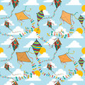 Flying kites seamless pattern vibrant colors spring kite vector file layered for easy manipulation and custom coloring Royalty Free Stock Photo