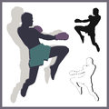 Flying knee of muay thai martial arts in silhouette Stock Photography