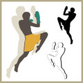 Flying knee of muay thai martial arts in silhouette Royalty Free Stock Image