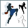 Flying knee of muay thai martial arts in silhouette Royalty Free Stock Images