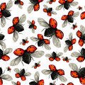 Flying ladybug seamless pattern Stock Images