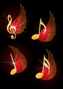 Flying musical notes Royalty Free Stock Images