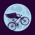 Flying in the night cruiser bicycle is with wings over circle of moon editable layered vector Royalty Free Stock Image