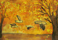 Flying owl owls in the autumn forest child art Stock Photo