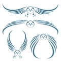 Flying owls tattoo Stock Image