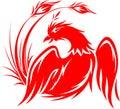 Flying phoenix in red