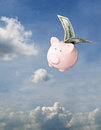 Flying piggy bank free in sky Stock Photos