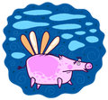 Flying pink pig Royalty Free Stock Photo