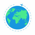 Flying plane around the world. The path plane, airplane route. Planet Earth icon
