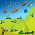 Flying plates of aliens are attacking the Earth Royalty Free Stock Photo