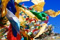 Flying prayer flags in the sky Stock Image