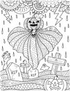 Flying pumpkin ghost above graveyard with thunder storm rain for card,poster and adult coloring book page. Vector illustration