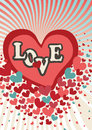 Flying red hearts in valentines card vector heart with the words love greeting or a poster for day typographical background Royalty Free Stock Photos
