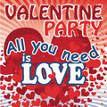 Flying red hearts in valentines poster vector heart with the words all you need is love and valentine party sticker or a for day Stock Photo