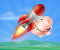 Flying rocket piggy bank an illustration of a with a on his back through the air over a landscape Royalty Free Stock Image