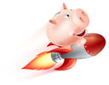 Flying rocket piggy bank an illustration of a riding on a through the air Stock Photography