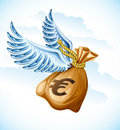 Flying sack of euro money with wings Royalty Free Stock Images