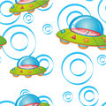 Flying saucers illustration of a on a white background Stock Photo
