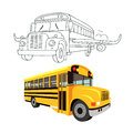 Flying school bus with wings of an airplane. Royalty Free Stock Photo