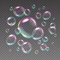 Flying soap bubbles. Realistic iridescent spheres with rainbow reflections. 3D shampoo balls floating on transparent Royalty Free Stock Photo