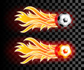Flying soccer ball with red fire flames on dark  transparent bac Royalty Free Stock Photo