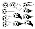vector flying soccer and football balls Royalty Free Stock Photo