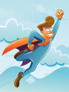 Flying Super Hero Stock Photo