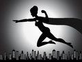 Flying superhero girl silhouette an illustration of a with shading effect Royalty Free Stock Images