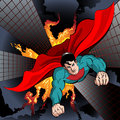 Flying superhero illustration with to fight with crime and protect the city drawn in comics style Royalty Free Stock Images