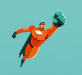 Flying superhero. Power and pride. Original graphics Royalty Free Stock Photo