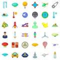 Flying transport icons set, cartoon style