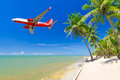 Flying for tropical holidays airplane from airport Stock Images