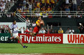 Flying in for a try at the dubai rugby sevens happy scorer s Stock Photography