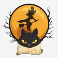 Flying Witch with Black Cat Face Button, Vector Illustration Royalty Free Stock Photo
