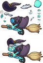 Cartoon Halloween witch character flying on her broom with different face expressions