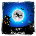 Flying Witch in Halloween Night Royalty Free Stock Photography