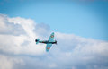 Flying WW2 spitfire aircraft Royalty Free Stock Photo