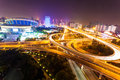 Flyover in modern city at night when the evening lights are lit Royalty Free Stock Photography